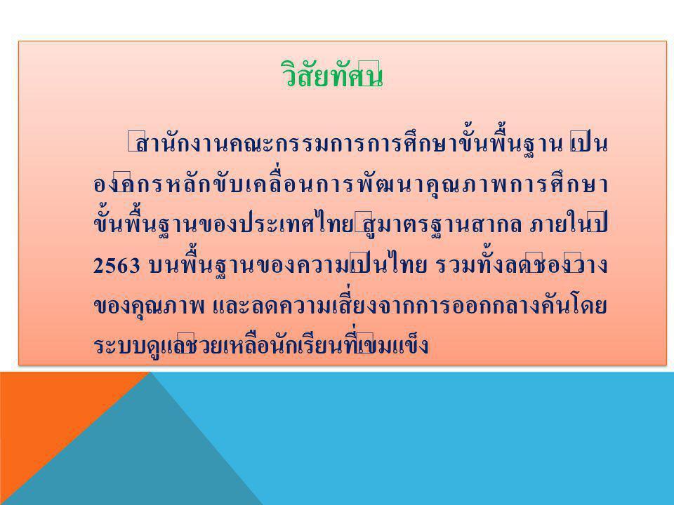 วิสัยทัศน์ สำนักงานคณะกรรมการการศึกษาขั้นพื้นฐาน เป็น องค์กรหลักขับเคลื่อนการพัฒนาคุณภาพการศึกษา ขั้นพื้นฐานของประเทศไทย สู่มาตรฐานสากล ภายในปี 2563 บนพื้นฐานของความเป็นไทย รวมทั้งลดช่องว่าง ของคุณภาพ และลดความเสี่ยงจากการออกกลางคันโดย ระบบดูแลช่วยเหลือนักเรียนที่เข้มแข็ง