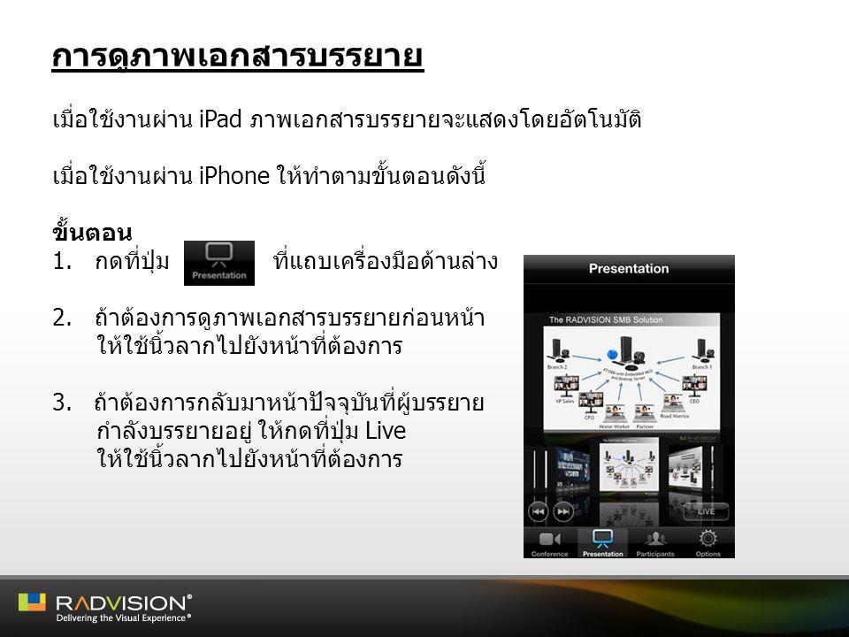 การดูภาพเอกสารบรรยาย เมื่อใช้งานผ่าน iPad ภาพเอกสารบรรยายจะแสดงโดยอัตโนมัติ เมื่อใช้งานผ่าน iPhone ให้ทำตามขั้นตอนดังนี้ ขั้นตอน 1.กดที่ปุ่ม ที่แถบเคร