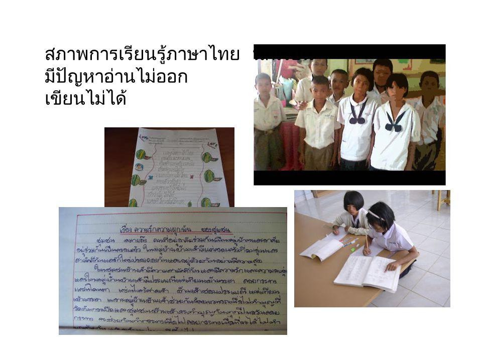 สภาพการเรียนรู้ภาษาไทย นักเรียน มีปัญหาอ่านไม่ออก เขียนไม่ได้