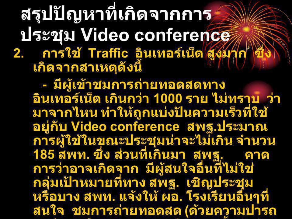 สรุปปัญหาที่เกิดจากการ ประชุม Video conference 2.
