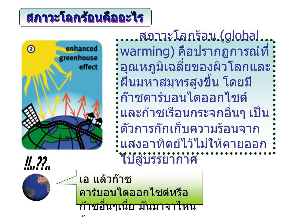 สาเหตุของสภาวะโลกร้อนที่ เกิดขึ้นเนื่องจากปริมาณของก๊าซ คาร์บอนไดออกไซด์มีจำนวนมาก ซึ่งการเกิดขึ้นของก๊าซนี้เป็นฝีมือ ของมนุษย์ เนื่องจากการใช้ พลังงานถ่านหิน ก๊าซ น้ำมัน ตลอดจนการตัดไม้ทำลายป่า ทำ ให้รังสีความร้อนที่ผ่านชั้น บรรยากาศเข้ามาถูกกักไว้ในโลก โดยไม่สามารถสะท้อนกลับออกไป ได้ เนี่ยน้า...