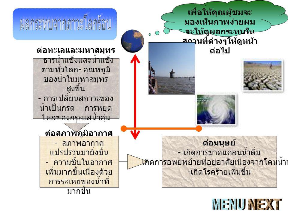 ต่อทะเลและมหาสมุทร - ธารน้ำแข็งและน้ำแข็ง ตามทั่วโลก - อุณหภูมิ ของน้ำในมหาสมุทร สูงขึ้น - การเปลี่ยนสภาวะของ น้ำเป็นกรด - การหยุด ไหลของกระแสน้ำอุ่น ต่อสภาพภูมิอากาศ - สภาพอากาศ แปรปรวนมายิ่งขึ้น - ความชื้นในอากาศ เพิ่มมากขึ้นเนื่องด้วย การระเหยของน้ำที่ มากขึ้น ต่อมนุษย์ - เกิดการขาดแคลนน้ำดื่ม - เกิดการอพยพย้ายที่อยู่อาศัยเนื่องจากโดนน้ำท่วม - เกิดโรคร้ายเพิ่มขึ้น เพื่อให้คุณผู้ชมจะ มองเห็นภาพง่ายผม จะให้ดูผลกระทบใน สถานที่ต่างๆให้ดูหน้า ต่อไป