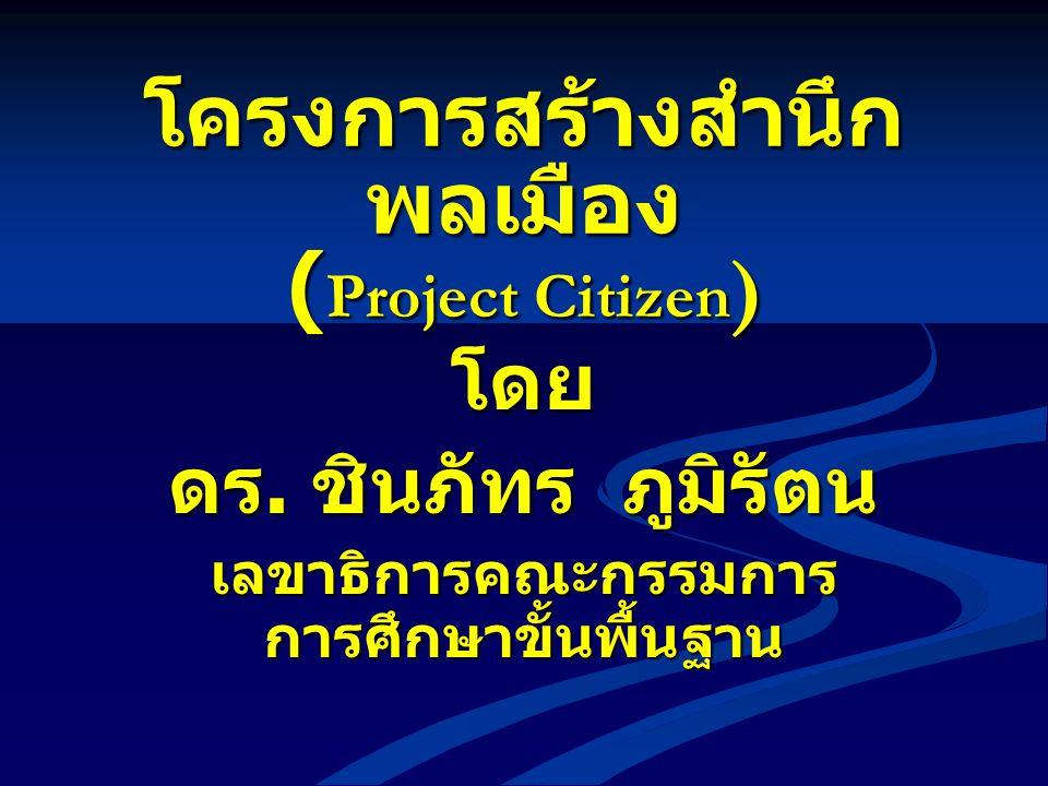 โครงการสร้างสำนึก พลเมือง ( Project Citizen ) โดย ดร. ชินภัทร ภูมิรัตน เลขาธิการคณะกรรมการ การศึกษาขั้นพื้นฐาน