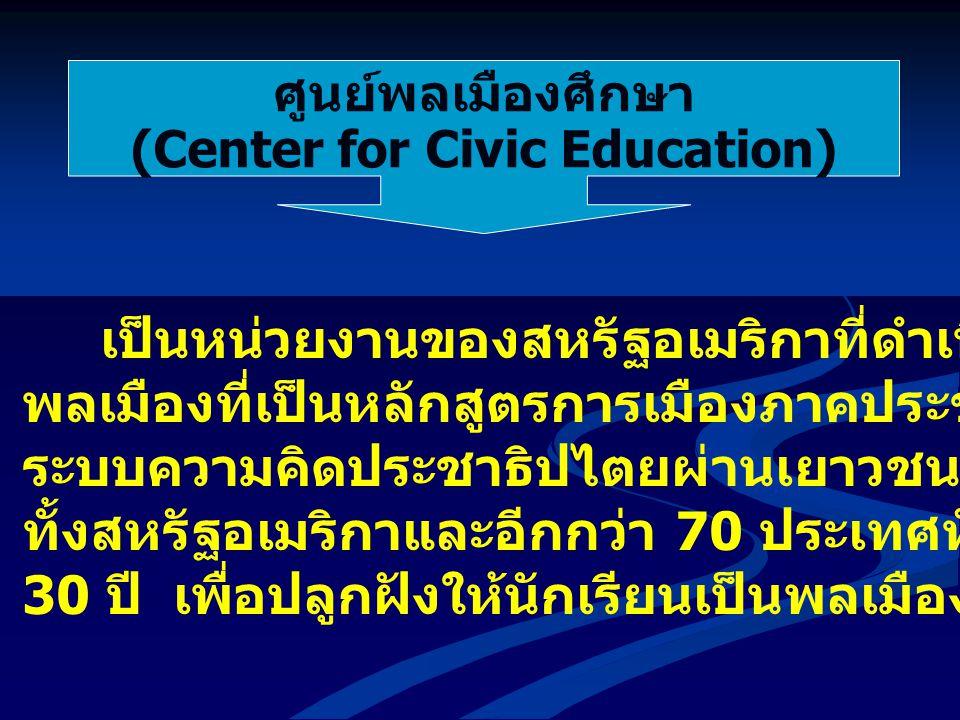 ศูนย์พลเมืองศึกษา (Center for Civic Education) เป็นหน่วยงานของสหรัฐอเมริกาที่ดำเนินโครงการสร้างสำนึก พลเมืองที่เป็นหลักสูตรการเมืองภาคประชาชน ในการสร้