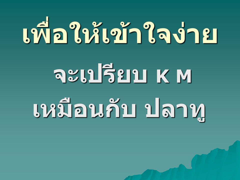 เพื่อให้เข้าใจง่าย จะเปรียบ K M จะเปรียบ K M เหมือนกับ ปลาทู