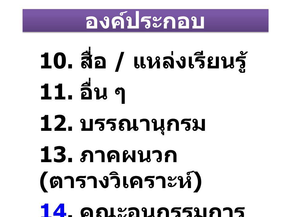 องค์ประกอบ 10. สื่อ / แหล่งเรียนรู้ 11. อื่น ๆ 12. บรรณานุกรม 13. ภาคผนวก ( ตารางวิเคราะห์ ) 1414. คณะอนุกรรมการ