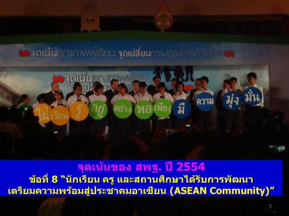 """จุดเน้นของ สพฐ. ปี 2554 ข้อที่ 8 """"นักเรียน ครู และสถานศึกษาได้รับการพัฒนา เตรียมความพร้อมสู่ประชาคมอาเซียน (ASEAN Community)"""" 3"""