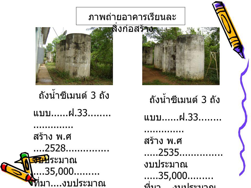 ภาพถ่ายอาคารเรียนและ สิ่งก่อสร้าง ถังน้ำซีเมนต์ 4 ถัง แบบ......