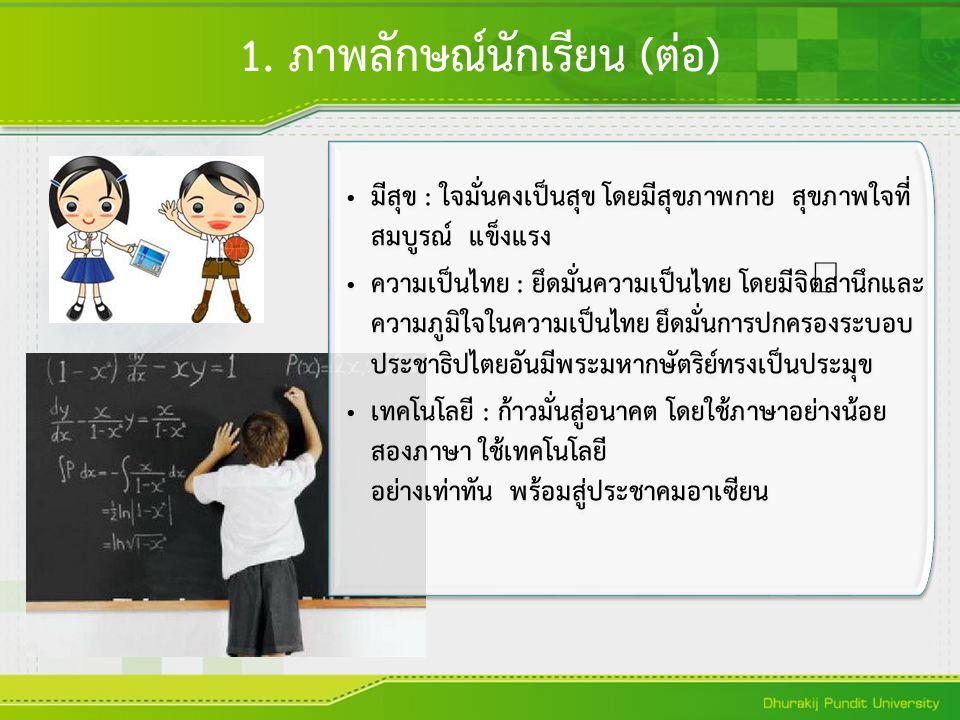 มีสุข : ใจมั่นคงเป็นสุข โดยมีสุขภาพกาย สุขภาพใจที่ สมบูรณ์ แข็งแรง ความเป็นไทย : ยึดมั่นความเป็นไทย โดยมีจิตสำนึกและ ความภูมิใจในความเป็นไทย ยึดมั่นกา