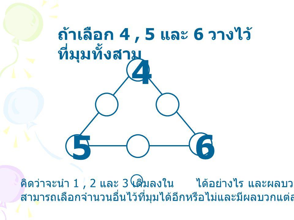ถ้าเลือก 4, 5 และ 6 วางไว้ ที่มุมทั้งสาม 4 5 6 คิดว่าจะนำ 1, 2 และ 3 เติมลงใน ได้อย่างไร และผลบวกแต่ละแนวเป็นเท่าไร สามารถเลือกจำนวนอื่นไว้ที่มุมได้อี