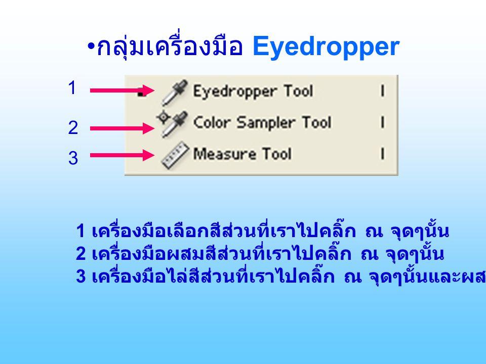 กลุ่มเครื่องมือ Eyedropper 1 2 3 1 เครื่องมือเลือกสีส่วนที่เราไปคลิ๊ก ณ จุดๆนั้น 2 เครื่องมือผสมสีส่วนที่เราไปคลิ๊ก ณ จุดๆนั้น 3 เครื่องมือไล่สีส่วนที่เราไปคลิ๊ก ณ จุดๆนั้นและผสมกันเป็นสีให้เราเลือก