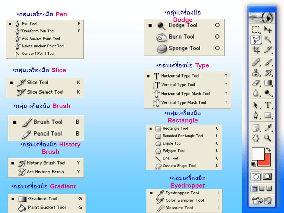 กลุ่มเครื่องมือ Pen กลุ่มเครื่องมือ Slice กลุ่มเครื่องมือ Brush กลุ่มเครื่องมือ History Brush กลุ่มเครื่องมือ Gradient กลุ่มเครื่องมือ Dodge กลุ่มเครื่องมือ Type กลุ่มเครื่องมือ Rectangle กลุ่มเครื่องมือ Eyedropper