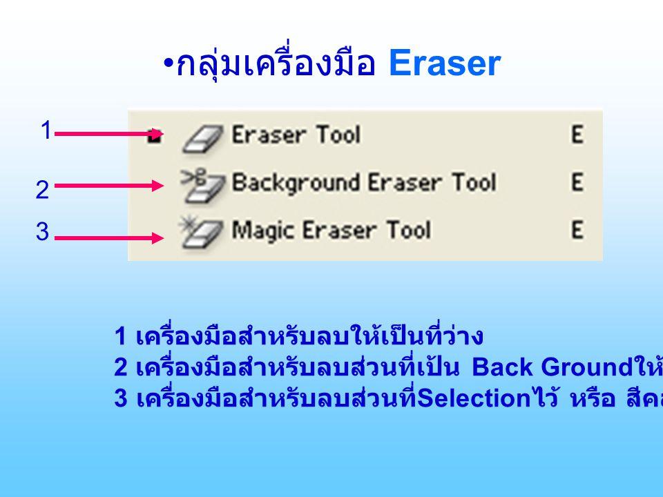 กลุ่มเครื่องมือ Eraser 1 2 3 1 เครื่องมือสำหรับลบให้เป็นที่ว่าง 2 เครื่องมือสำหรับลบส่วนที่เป้น Back Ground ให้เป็นที่ว่าง 3 เครื่องมือสำหรับลบส่วนที่ Selection ไว้ หรือ สีคล้ายๆกัน