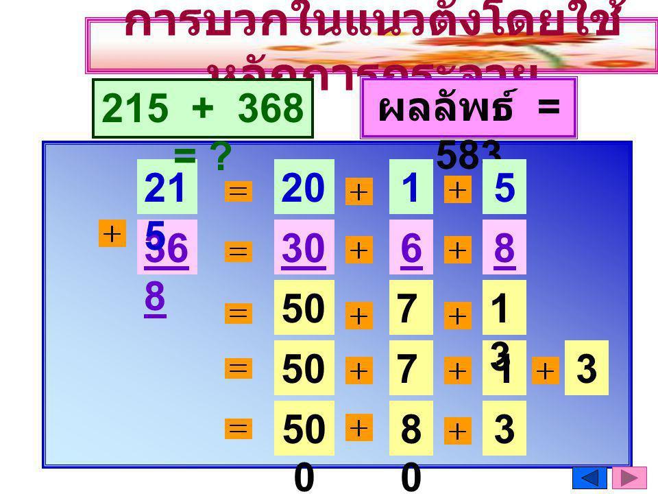 การบวกในแนวตั้งโดยใช้ หลักการกระจาย 36 8 21 5 20 0 1010 30 0 6060 215 + 368 = .