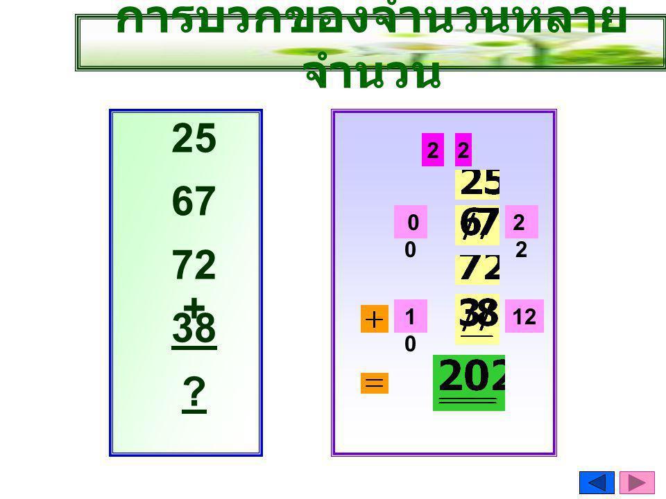 การบวกของจำนวนหลาย จำนวน 1212 25 67 72 + 38 ? 2 1010 20 121010 2