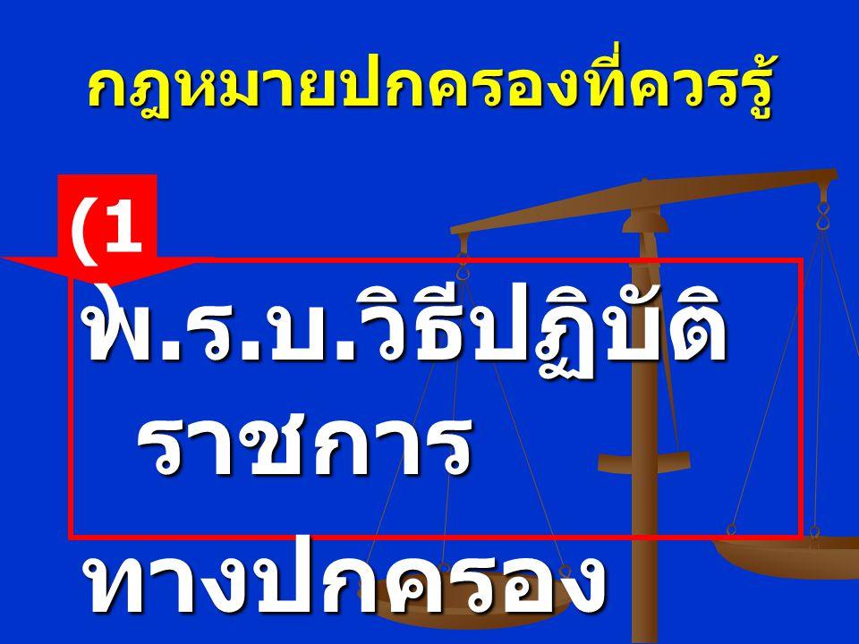 กฎหมายปกครองที่ควรรู้ พ. ร. บ. วิธีปฏิบัติ ราชการ ทางปกครอง พ. ศ.2539 (1 )
