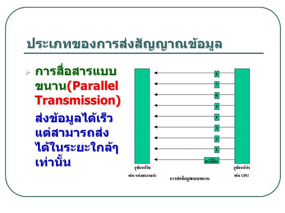 ประเภทของการส่งสัญญาณข้อมูล  การสื่อสารแบบ ขนาน (Parallel Transmission) ส่งข้อมูลได้เร็ว แต่สามารถส่ง ได้ในระยะใกล้ๆ เท่านั้น