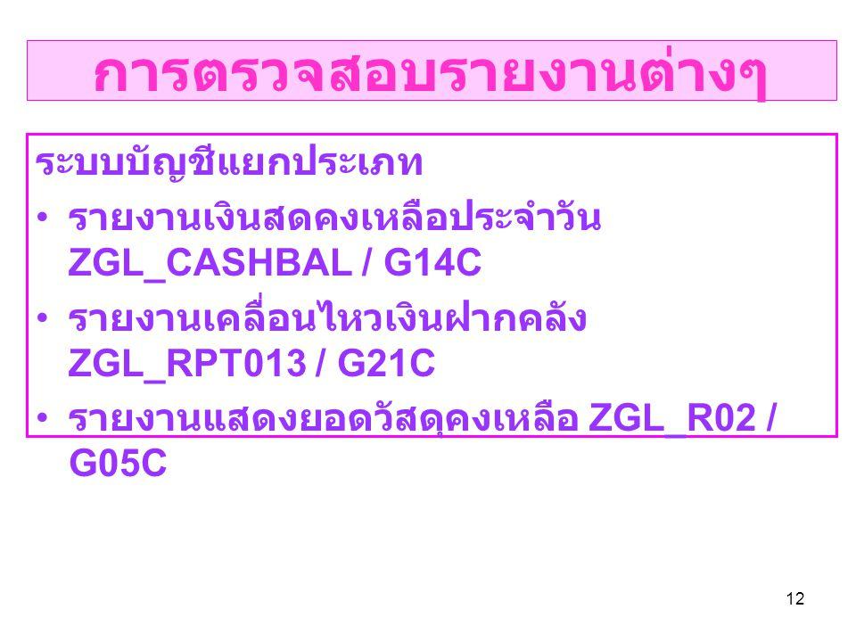 12 การตรวจสอบรายงานต่างๆ ระบบบัญชีแยกประเภท รายงานเงินสดคงเหลือประจำวัน ZGL_CASHBAL / G14C รายงานเคลื่อนไหวเงินฝากคลัง ZGL_RPT013 / G21C รายงานแสดงยอดวัสดุคงเหลือ ZGL_R02 / G05C