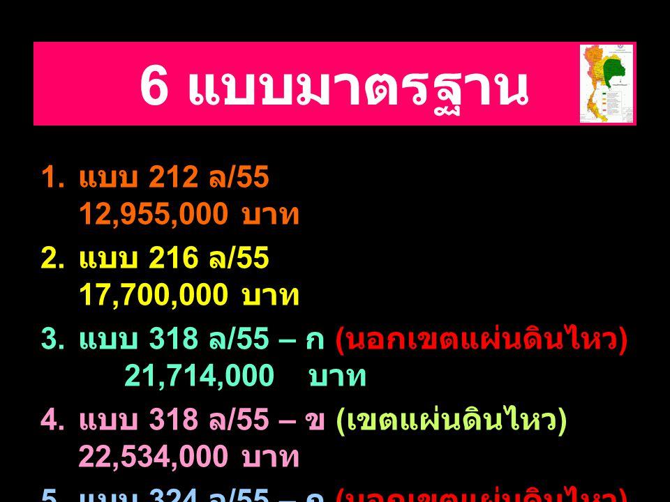 6 แบบมาตรฐาน 1.แบบ 212 ล /55 12,955,000 บาท 2. แบบ 216 ล /55 17,700,000 บาท 3.