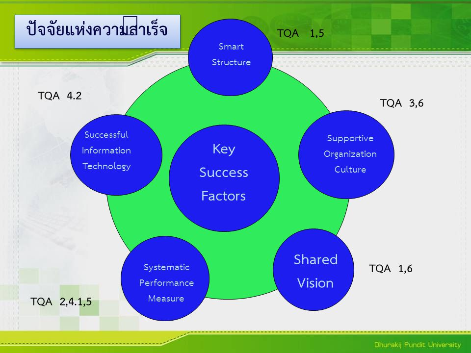 Key Success Factors Smart Structure Supportive Organization Culture Shared Vision Systematic Performance Measure Successful Information Technology TQA