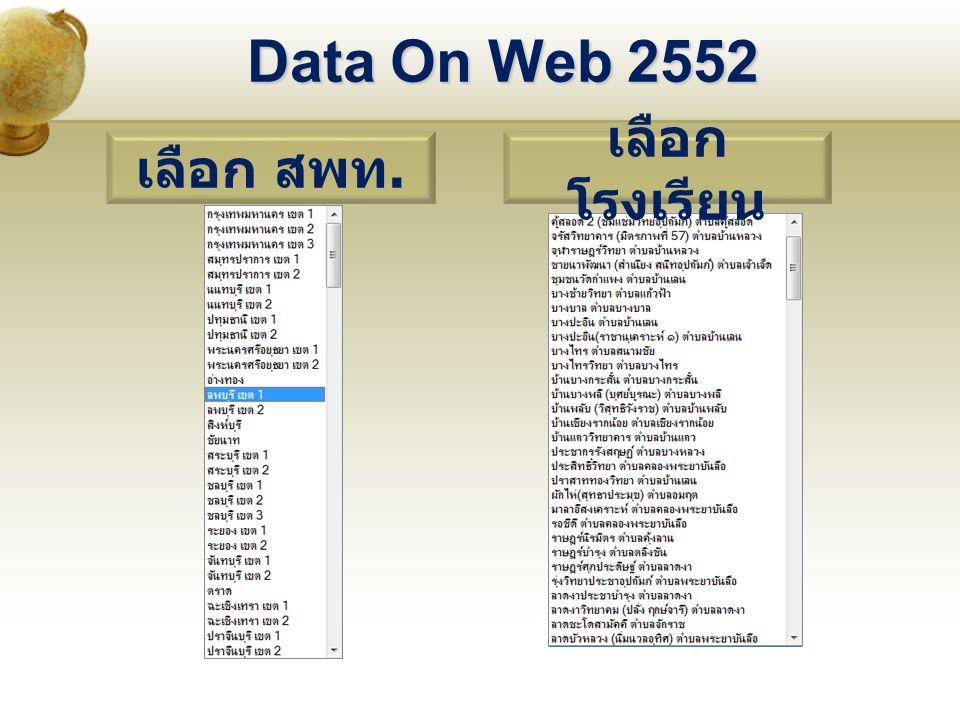 Data On Web 2552 เลือก สพท. เลือก โรงเรียน