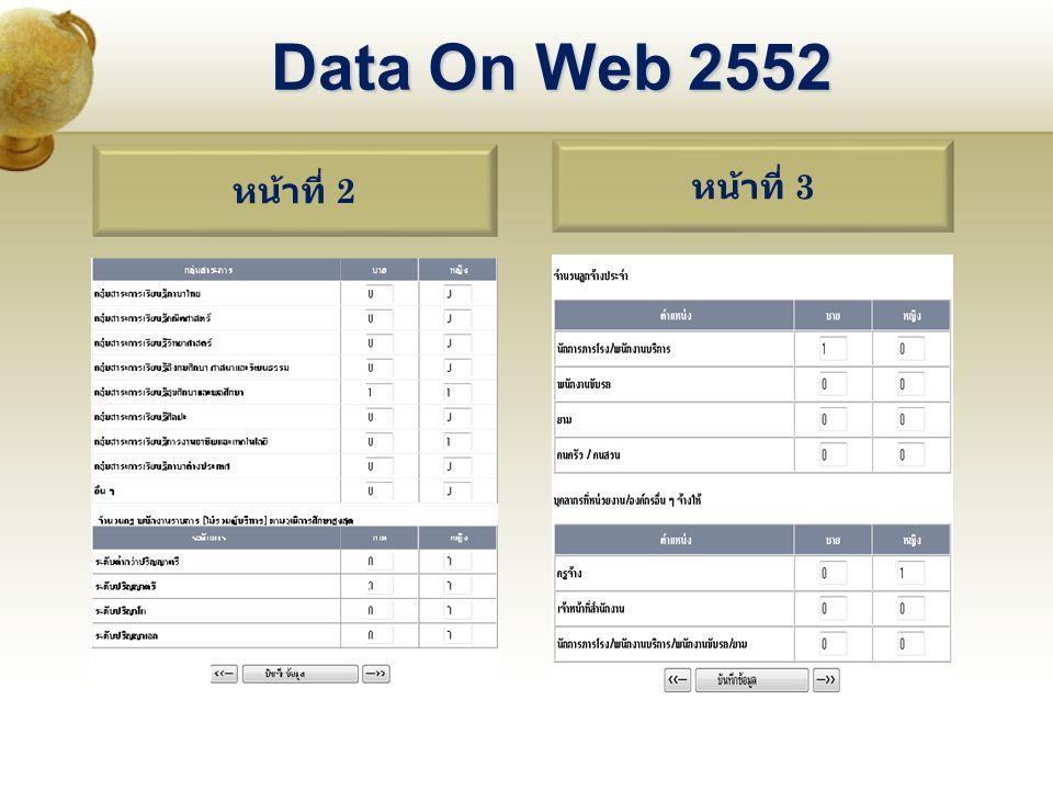 หน้าที่ 2 หน้าที่ 3 Data On Web 2552