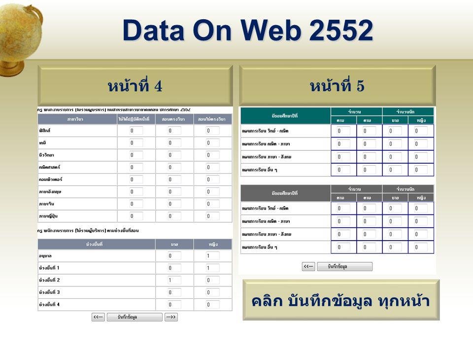 หน้าที่ 4 หน้าที่ 5 Data On Web 2552 คลิก บันทึกข้อมูล ทุกหน้า