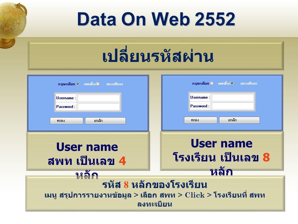 Data On Web 2552 เปลี่ยนรหัสผ่าน User name สพท เป็นเลข 4 หลัก User name โรงเรียน เป็นเลข 8 หลัก รหัส 8 หลักของโรงเรียน เมนู สรุปการรายงานข้อมูล > เลือก สพท > Click > โรงเรียนที่ สพท ลงทะเบียน