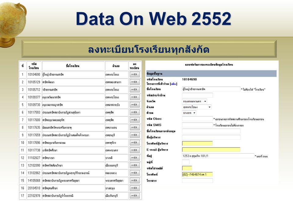 Data On Web 2552 ลงทะเบียนโรงเรียนทุกสังกัด