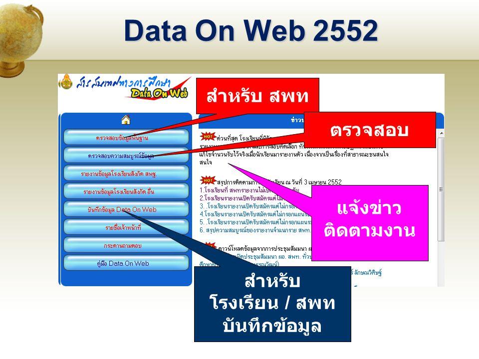 Data On Web 2552 สำหรับ สพท ตรวจสอบ สำหรับ โรงเรียน / สพท บันทึกข้อมูล แจ้งข่าว ติดตามงาน