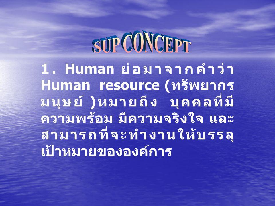 1. Human ย่อมาจากคำว่า Human resource ( ทรัพยากร มนุษย์ ) หมายถึง บุคคลที่มี ความพร้อม มีความจริงใจ และ สามารถที่จะทำงานให้บรรลุ เป้าหมายขององค์การ