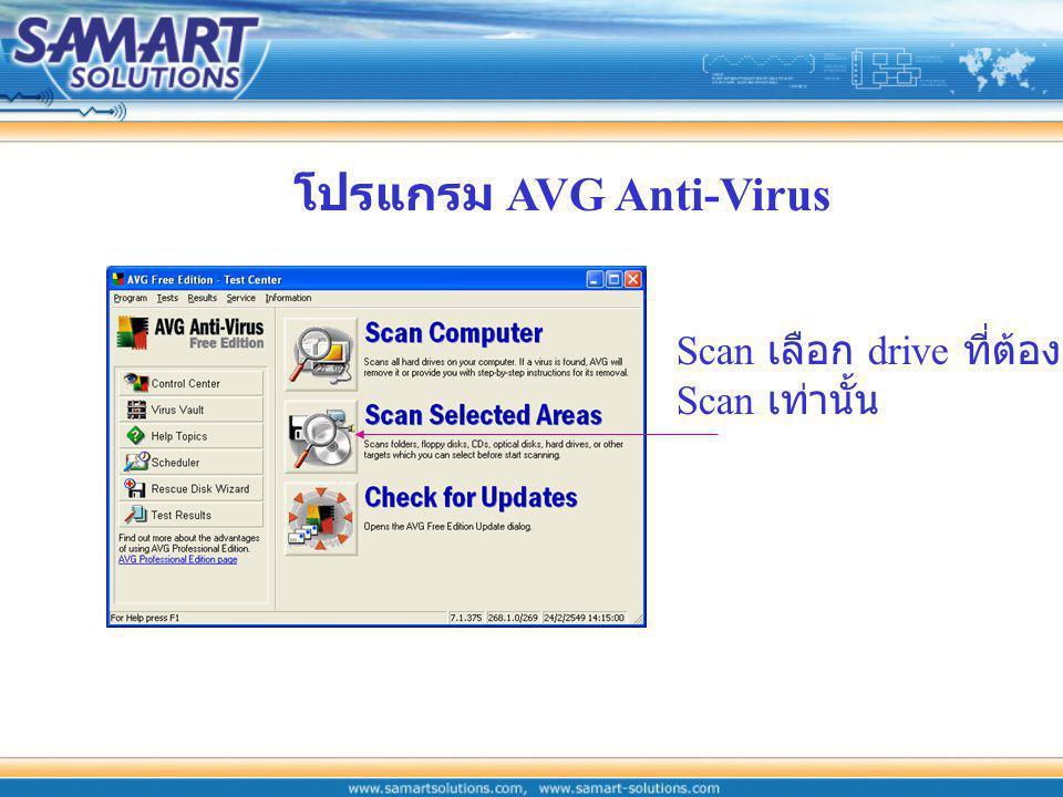 โปรแกรม AVG Anti-Virus Scan เลือก drive ที่ต้องการ Scan เท่านั้น