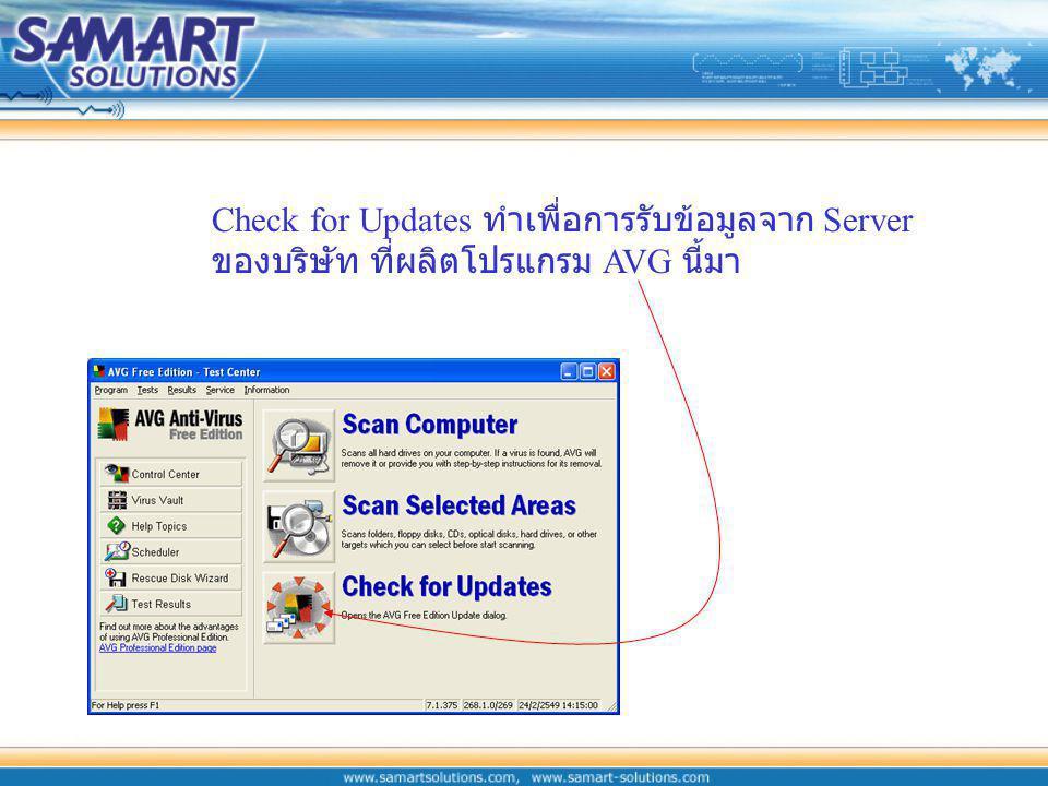 Check for Updates ทำเพื่อการรับข้อมูลจาก Server ของบริษัท ที่ผลิตโปรแกรม AVG นี้มา