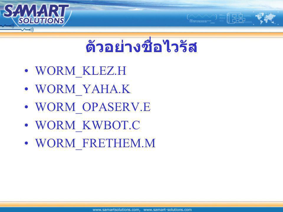 ตัวอย่างชื่อไวรัส WORM_KLEZ.H WORM_YAHA.K WORM_OPASERV.E WORM_KWBOT.C WORM_FRETHEM.M