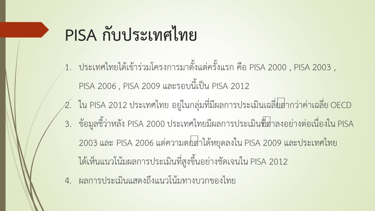 PISA กับประเทศไทย 1.ประเทศไทยได้เข้าร่วมโครงการมาตั้งแต่ครั้งแรก คือ PISA 2000, PISA 2003, PISA 2006, PISA 2009 และรอบนี้เป็น PISA 2012 2.ใน PISA 2012