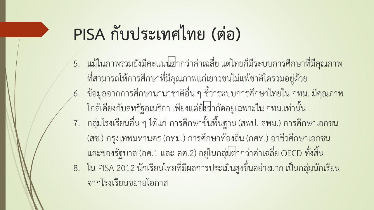 5.แม้ในภาพรวมยังมีคะแนนต่ำกว่าค่าเฉลี่ย แต่ไทยก็มีระบบการศึกษาที่มีคุณภาพ ที่สามารถให้การศึกษาที่มีคุณภาพแก่เยาวชนไม่แพ้ชาติใดรวมอยู่ด้วย 6.ข้อมูลจากก