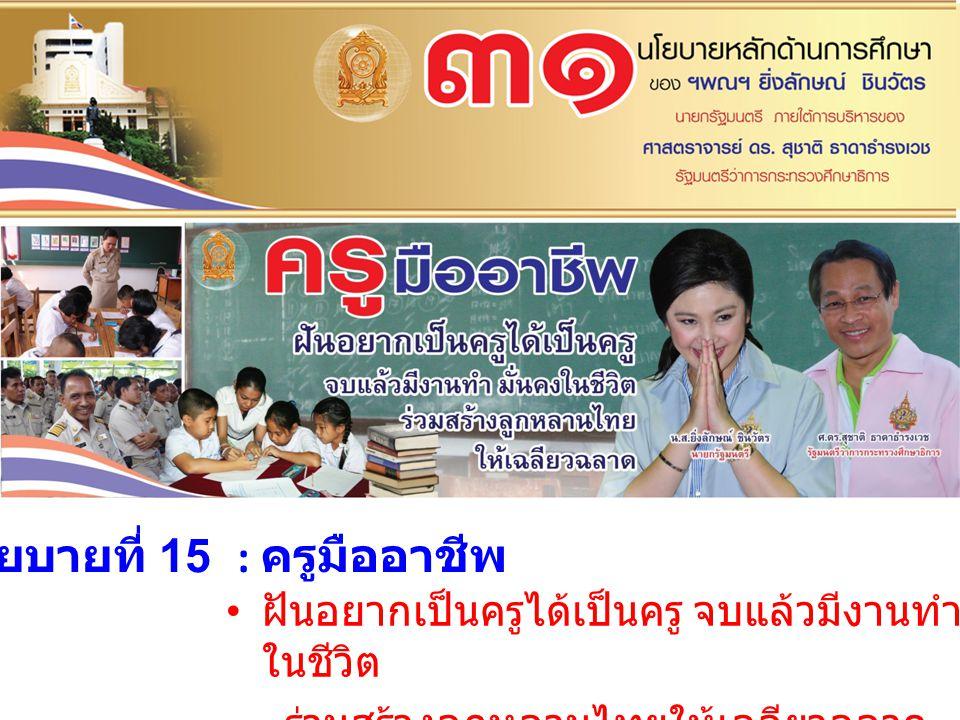 นโยบายที่ 15 : ครูมืออาชีพ ฝันอยากเป็นครูได้เป็นครู จบแล้วมีงานทำ มั่นคง ในชีวิต ร่วมสร้างลูกหลานไทยให้เฉลียวฉลาด