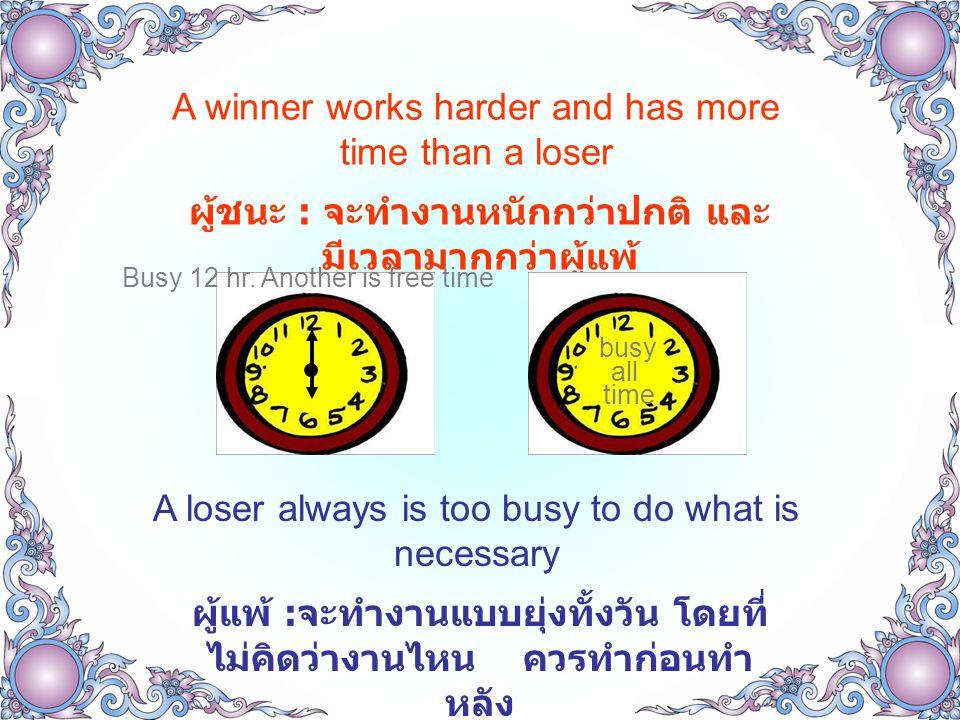 A winner works harder and has more time than a loser ผู้ชนะ : จะทำงานหนักกว่าปกติ และ มีเวลามากกว่าผู้แพ้ A loser always is too busy to do what is necessary ผู้แพ้ : จะทำงานแบบยุ่งทั้งวัน โดยที่ ไม่คิดว่างานไหน ควรทำก่อนทำ หลัง busy Busy 12 hr.