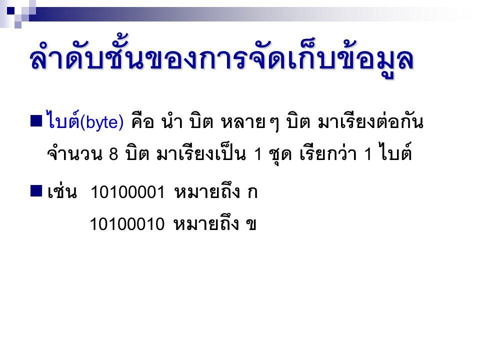 ลำดับชั้นของการจัดเก็บข้อมูล ไบต์(byte) คือ นำ บิต หลายๆ บิต มาเรียงต่อกัน จำนวน 8 บิต มาเรียงเป็น 1 ชุด เรียกว่า 1 ไบต์ เช่น 10100001 หมายถึง ก 10100010 หมายถึง ข