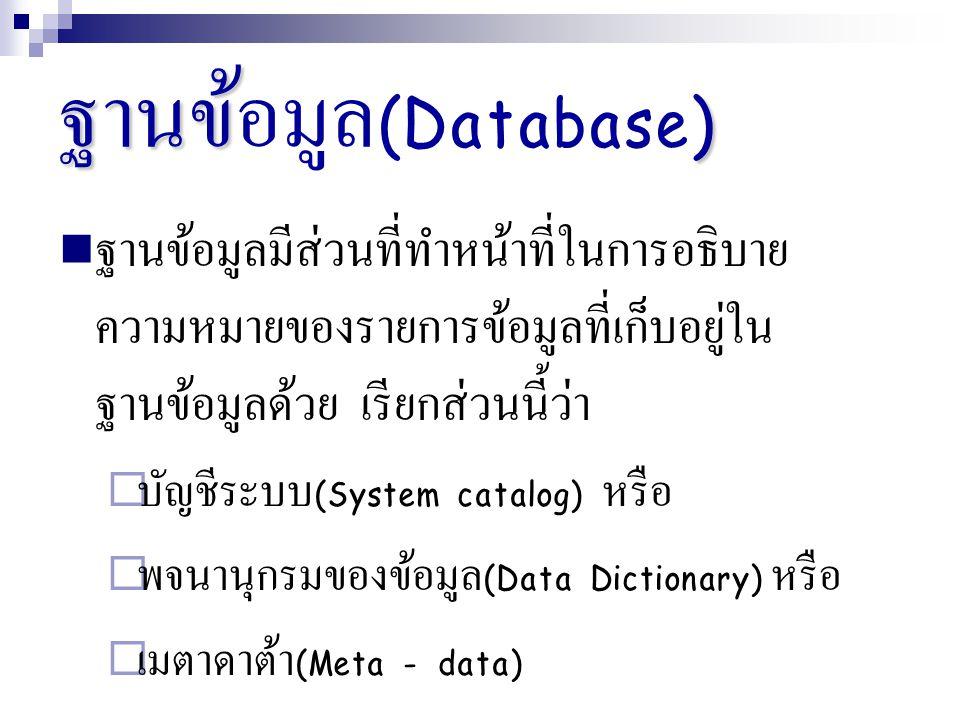 ฐานข้ ) ฐานข้อมูล (Database) ฐานข้อมูลมีส่วนที่ทำหน้าที่ในการอธิบาย ความหมายของรายการข้อมูลที่เก็บอยู่ใน ฐานข้อมูลด้วย เรียกส่วนนี้ว่า  บัญชีระบบ (Sy