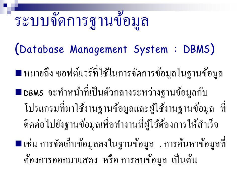 ระบบจัดการฐานข้อมูล ( Database Management System : DBMS ) หมายถึง ซอฟต์แวร์ที่ใช้ในการจัดการข้อมูลในฐานข้อมูล DBMS จะทำหน้าที่เป็นตัวกลางระหว่างฐานข้อมูลกับ โปรแกรมที่มาใช้งานฐานข้อมูลและผู้ใช้งานฐานข้อมูล ที่ ติดต่อไปยังฐานข้อมูลเพื่อทำงานที่ผู้ใช้ต้องการให้สำเร็จ เช่น การจัดเก็บข้อมูลลงในฐานข้อมูล, การค้นหาข้อมูลที่ ต้องการออกมาแสดง หรือ การลบข้อมูล เป็นต้น