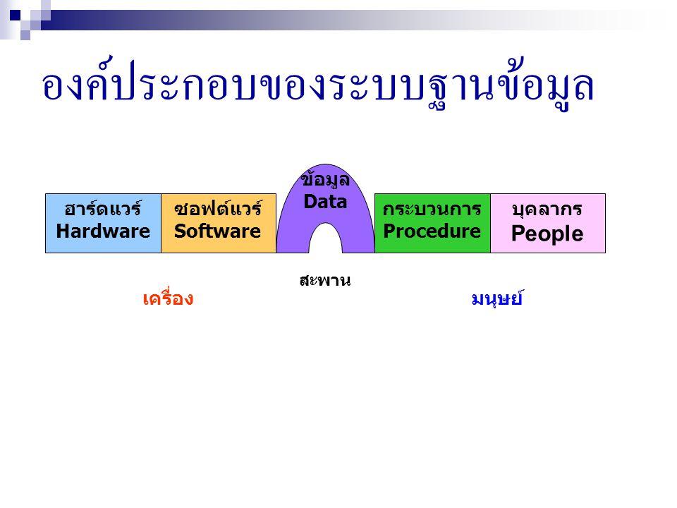 องค์ประกอบของระบบฐานข้อมูล ฮาร์ดแวร์ Hardware ซอฟต์แวร์ Software ข้อมูล Data กระบวนการ Procedure บุคลากร People เครื่องมนุษย์ สะพาน