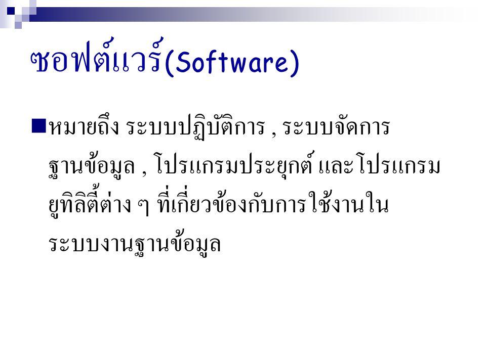 ซอฟต์แวร์ (Software) หมายถึง ระบบปฏิบัติการ, ระบบจัดการ ฐานข้อมูล, โปรแกรมประยุกต์ และโปรแกรม ยูทิลิตี้ต่าง ๆ ที่เกี่ยวข้องกับการใช้งานใน ระบบงานฐานข้