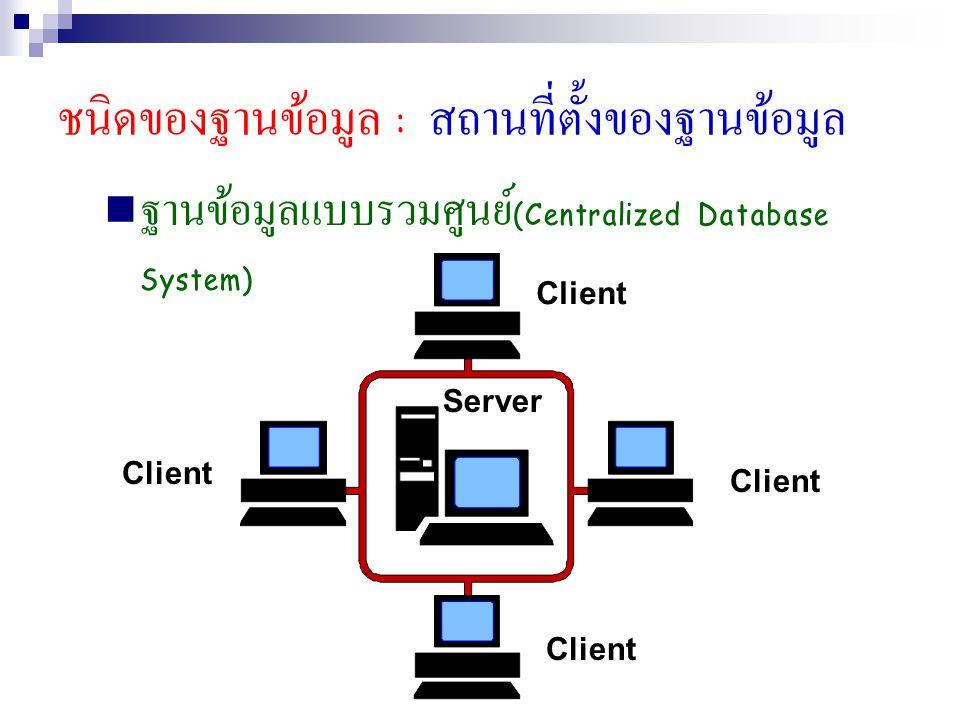 ชนิดของฐานข้อมูล : สถานที่ตั้งของฐานข้อมูล ฐานข้อมูลแบบกระจาย (Distributed Database System)