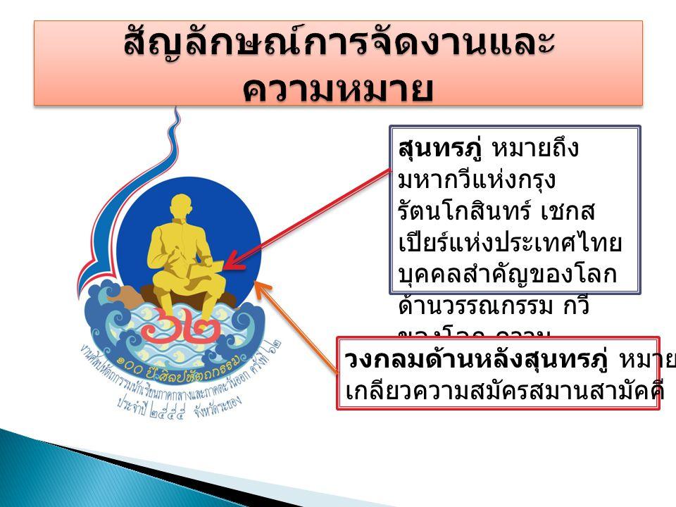 สุนทรภู่ หมายถึง มหากวีแห่งกรุง รัตนโกสินทร์ เชกส เปียร์แห่งประเทศไทย บุคคลสำคัญของโลก ด้านวรรณกรรม กวี ของโลก ความ ภาคภูมิใจของจังหวัด ระยอง วงกลมด้า