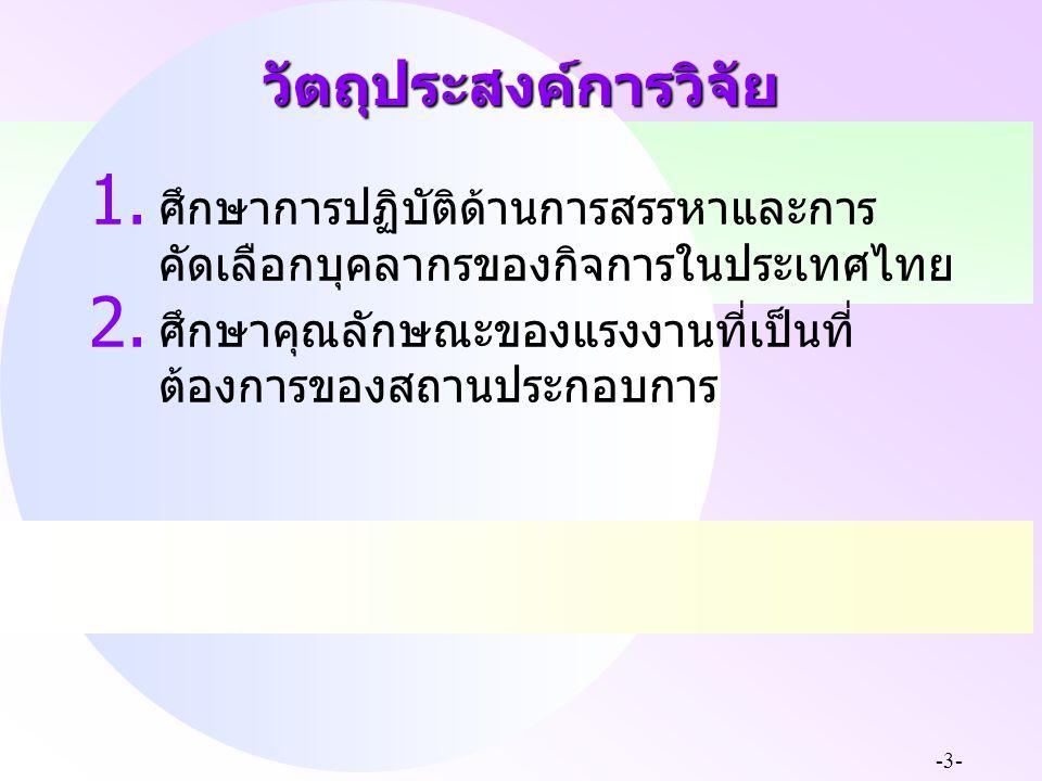 -3- วัตถุประสงค์การวิจัย 1. ศึกษาการปฏิบัติด้านการสรรหาและการ คัดเลือกบุคลากรของกิจการในประเทศไทย 2. ศึกษาคุณลักษณะของแรงงานที่เป็นที่ ต้องการของสถานป