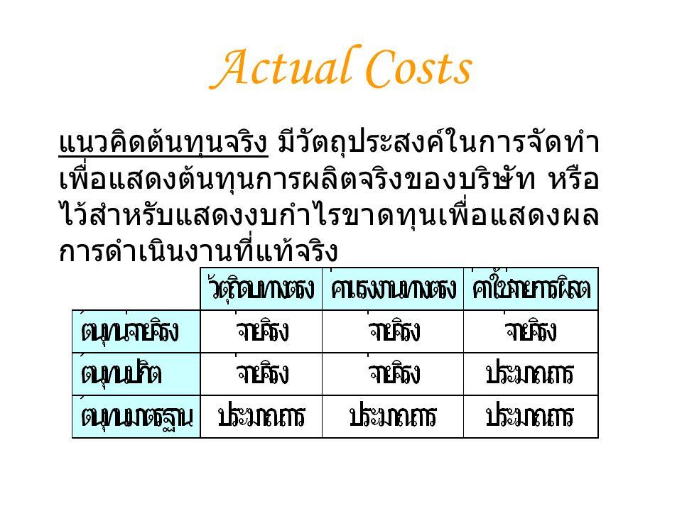 แนวคิดต้นทุนจริง มีวัตถุประสงค์ในการจัดทำ เพื่อแสดงต้นทุนการผลิตจริงของบริษัท หรือ ไว้สำหรับแสดงงบกำไรขาดทุนเพื่อแสดงผล การดำเนินงานที่แท้จริง Actual Costs
