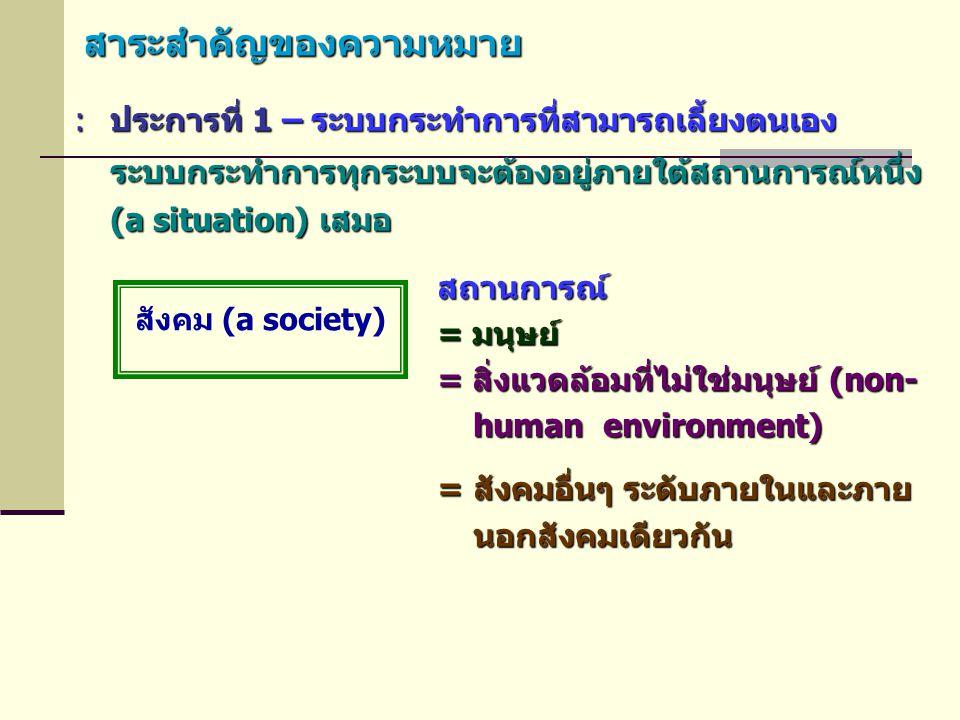 สาระสำคัญของความหมาย :ประการที่ 1 – ระบบกระทำการที่สามารถเลี้ยงตนเอง ระบบกระทำการทุกระบบจะต้องอยู่ภายใต้สถานการณ์หนึ่ง (a situation) เสมอ สังคม (a soc
