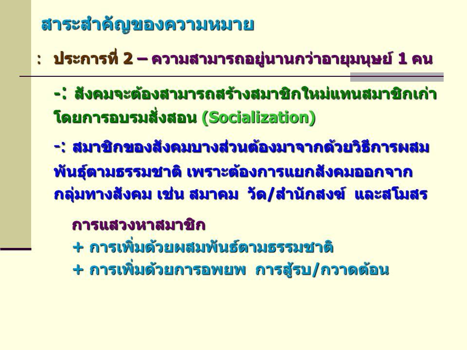สาระสำคัญของความหมาย :ประการที่ 2 – ความสามารถอยู่นานกว่าอายุมนุษย์ 1 คน -: สมาชิกของสังคมบางส่วนต้องมาจากด้วยวิธีการผสม พันธุ์ตามธรรมชาติ เพราะต้องกา
