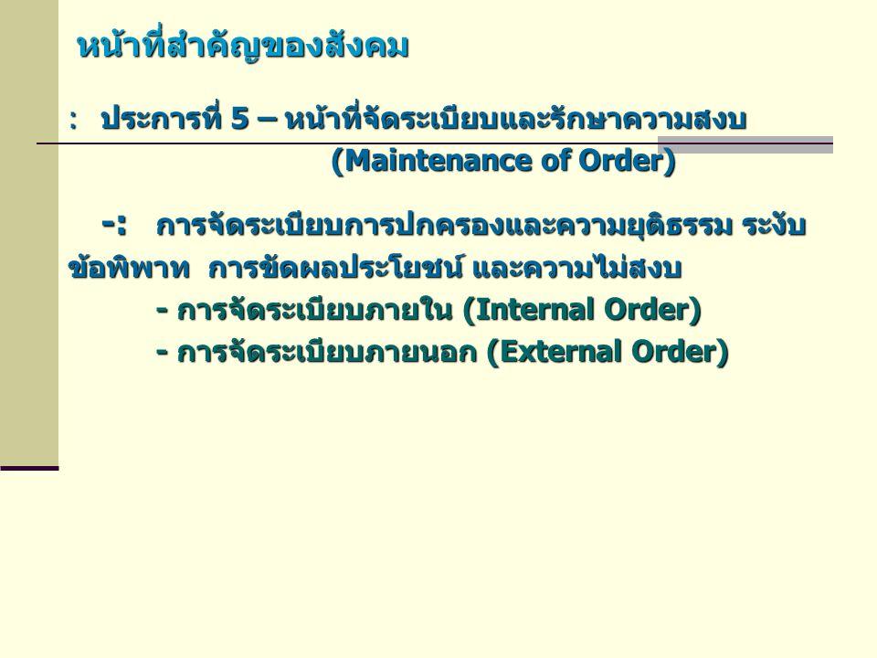 หน้าที่สำคัญของสังคม :ประการที่ 5 – หน้าที่จัดระเบียบและรักษาความสงบ (Maintenance of Order) -: การจัดระเบียบการปกครองและความยุติธรรม ระงับ ข้อพิพาท กา